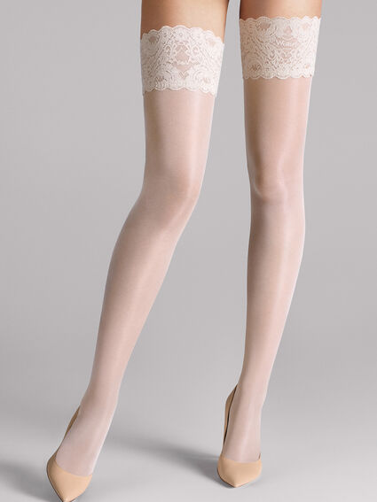 Wolford Nude 8 Lace stay-up transparente halterlose chaussettes avec dentelle blanche